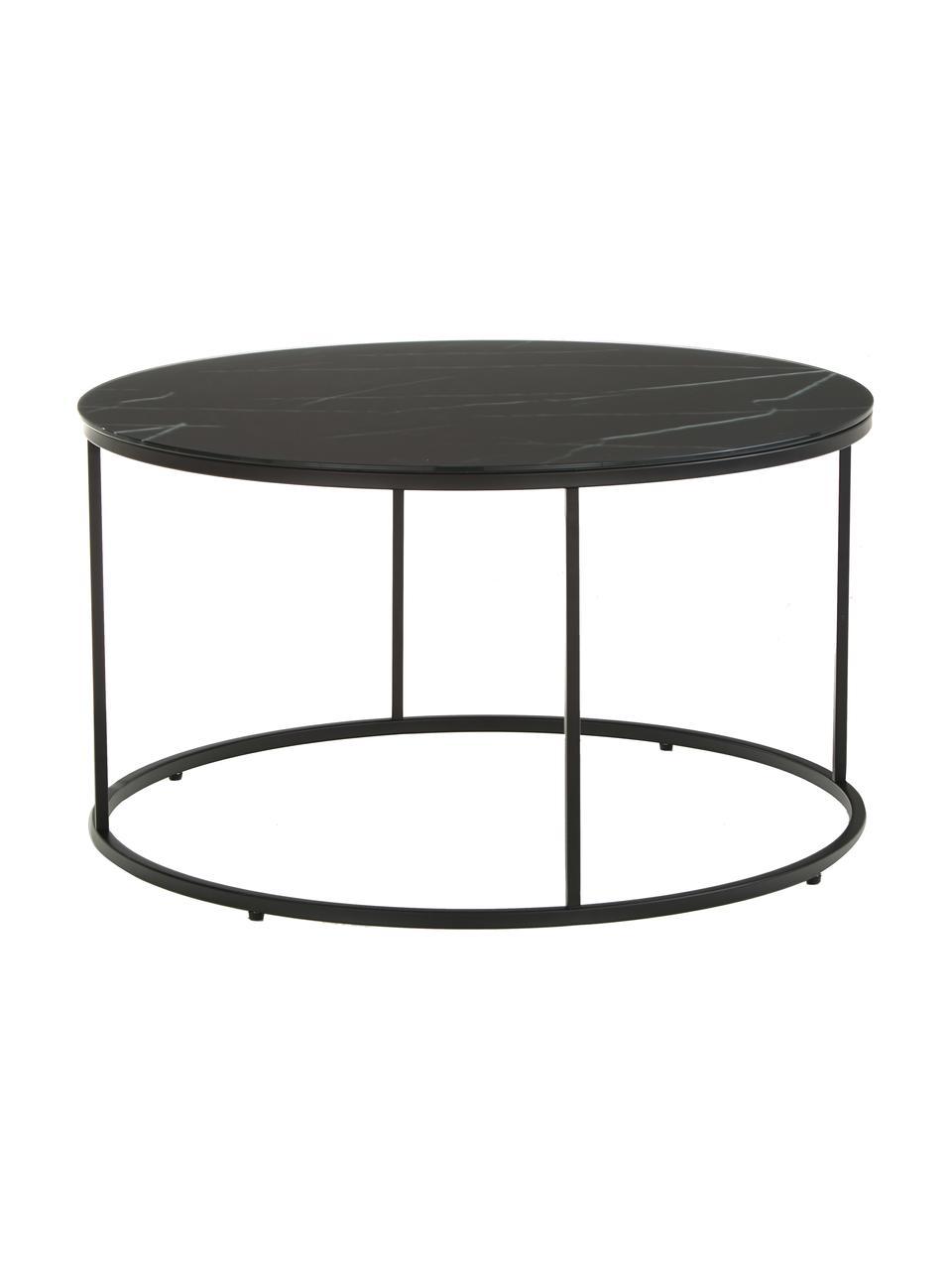 Salontafel Antigua met gemarmerde glazen tafelblad, Tafelblad: glas, mat bedrukt, Frame: gepoedercoat staal, Zwart-grijs gemarmerd, zwart, Ø 80 x H 45 cm