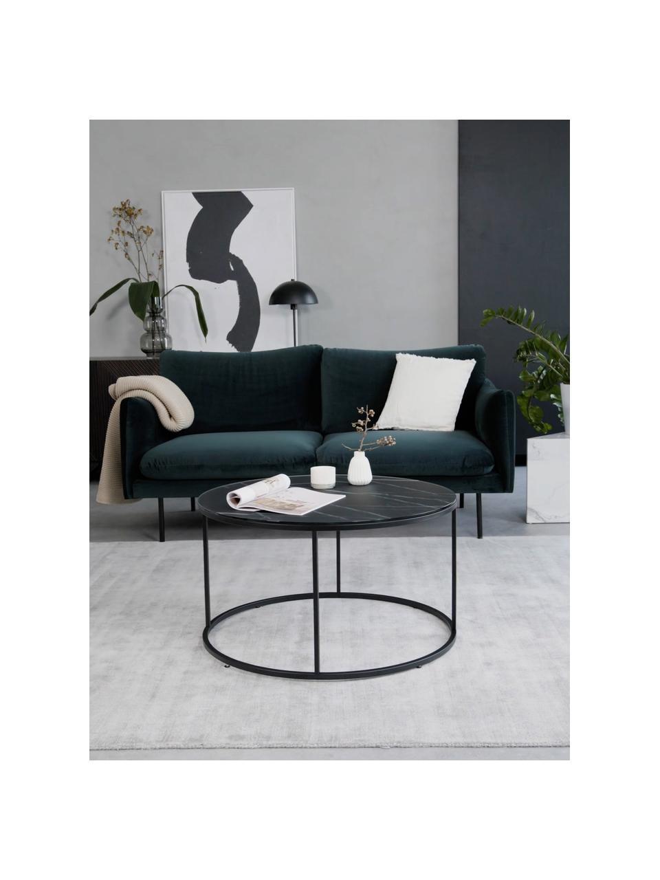 Tavolino da salotto con piano in vetro effetto marmo Antigua, Struttura: acciaio verniciato a polv, Nero-grigio marmorizzato, nero, Ø 80 x Alt. 45 cm