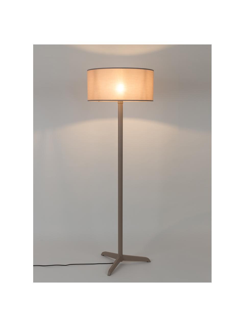 Vloerlamp Shelby in beige, Lampenkap: 80% linnen, 20% katoen, Lampvoet: gecoat metaal, Beige, Ø 50 x H 155 cm