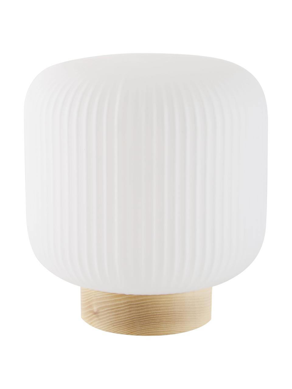 Kleine Nachttischlampe Milford im Skandi-Style, Lampenschirm: Opalglas, Lampenfuß: Holz, Opalweiß, Holz, Ø 20 x H 21 cm