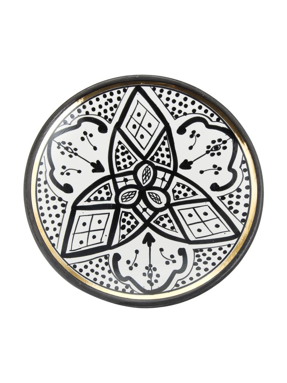 Piattino da dessert fatto a mano stile marocchino con bordo oro Assiette, Ceramica, Nero, crema, oro, Ø 20 cm