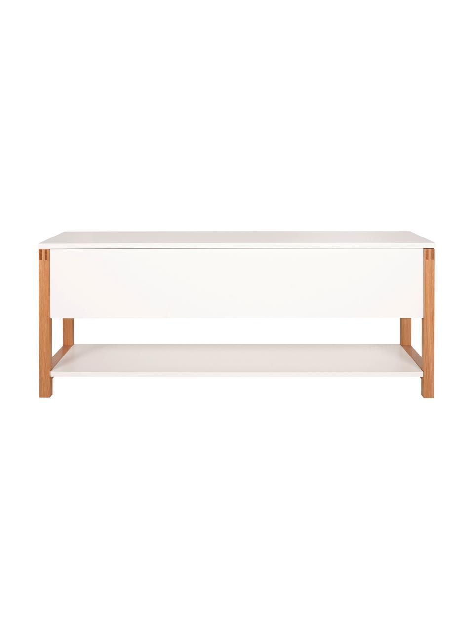 Garderobenbank Northgate mit Stauraum, Rahmen: Eichenholz, Weiß, 120 x 48 cm