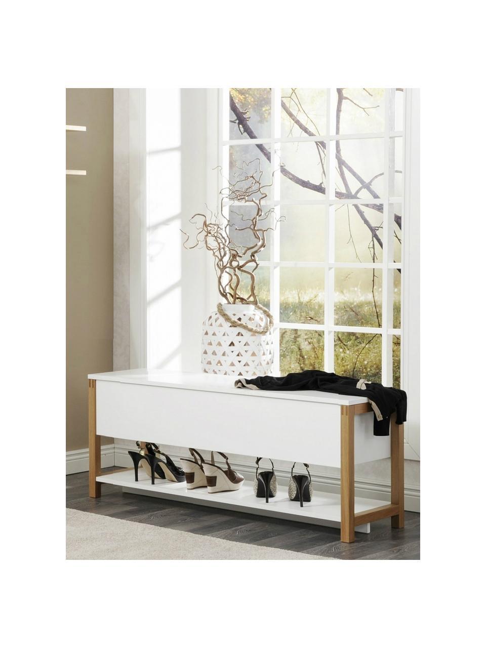 Ławka z miejscem do przechowywania Northgate Flip, Biały, S 120 x W 48 cm