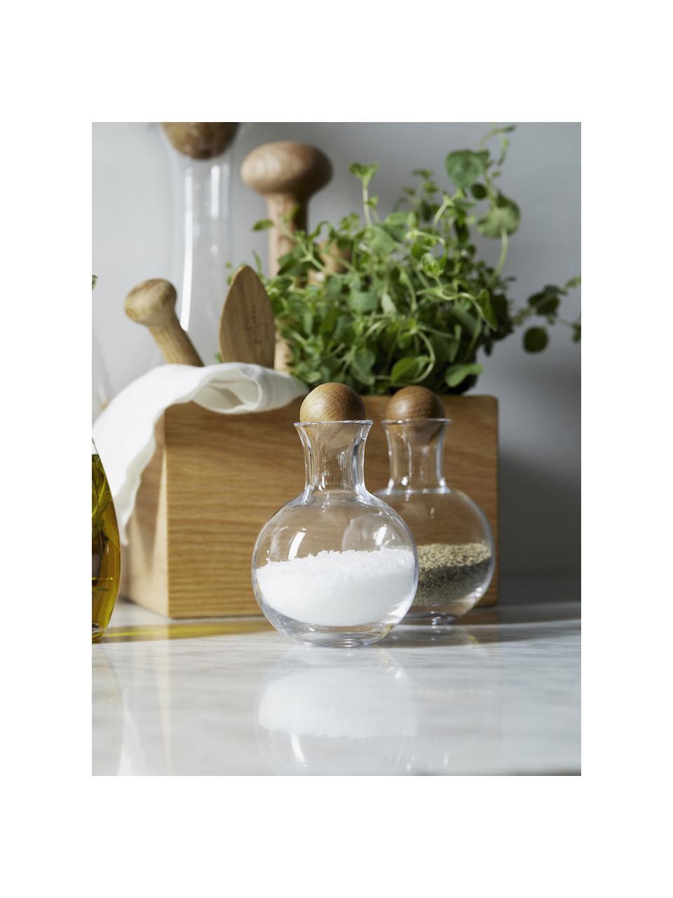 Pojemnik do przechowywania ze szkła dmuchanego z drewnianą pokrywką Eden, 2 szt., Transparentny, drewno dębowe, Ø 10 x W 10 cm