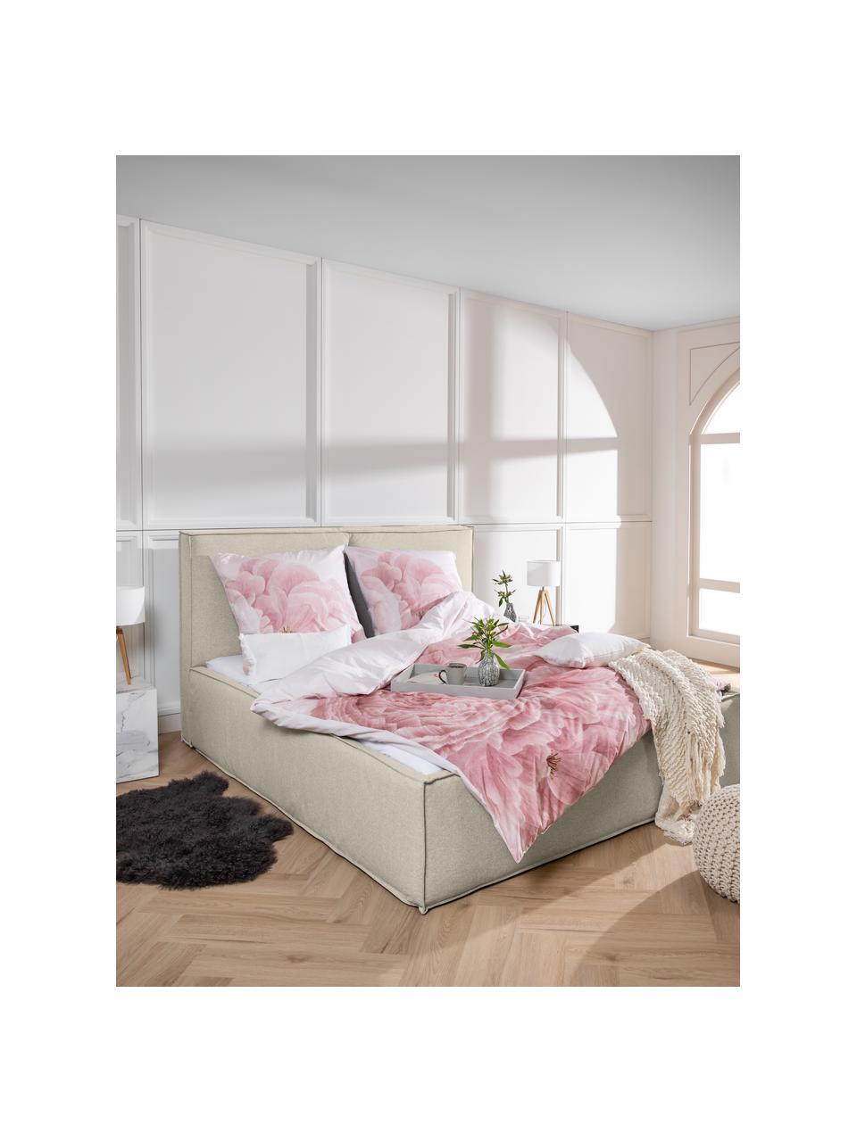 Gestoffeerd bed Dream in donkere beige, Frame: Massief grenenhout en pla, Bekleding: 100% polyester (gestructu, Stof taupe, 180 x 200 cm