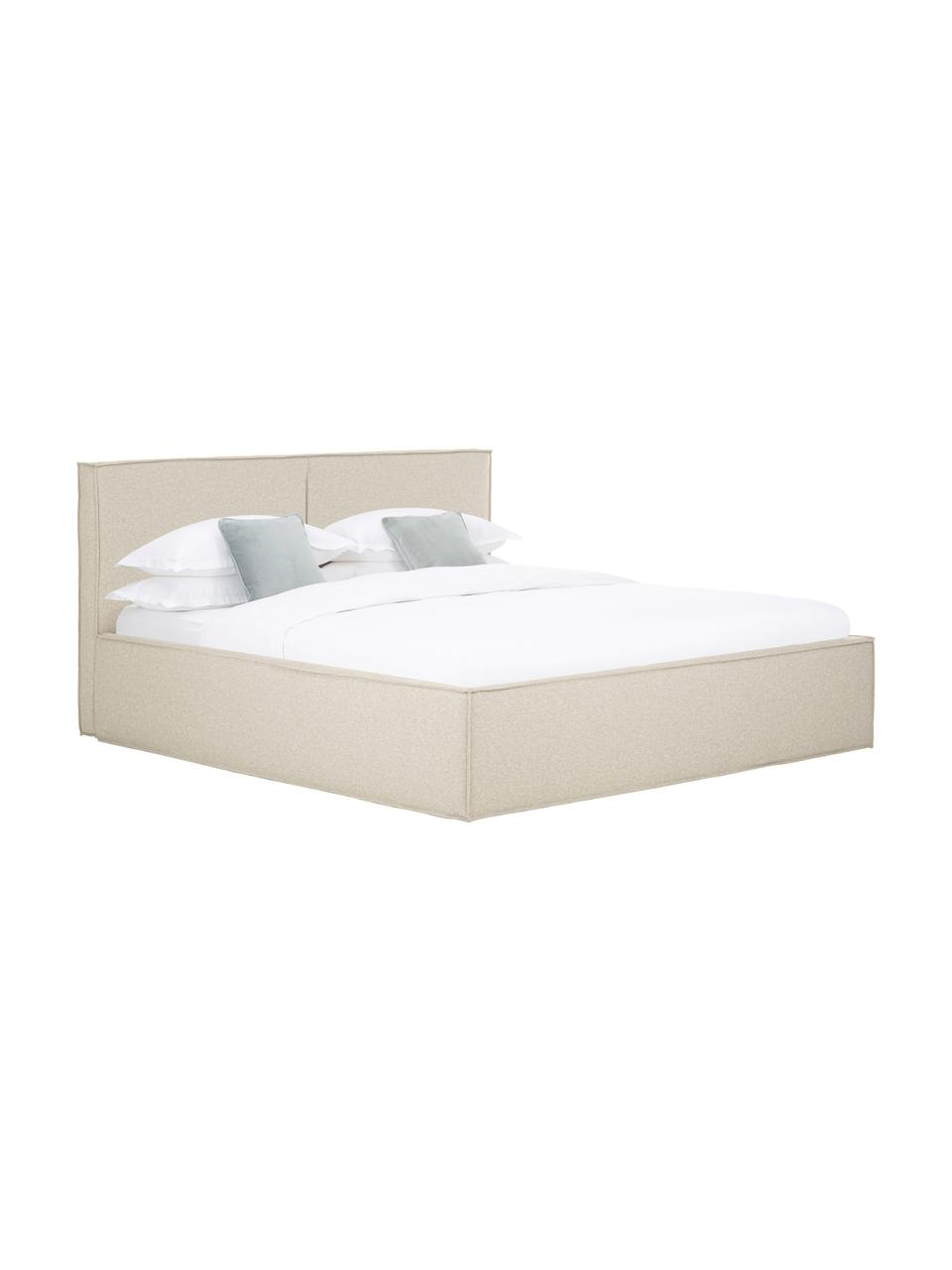 Gestoffeerd bed Dream in donkere beige, Frame: massief grenenhout en pla, Bekleding: polyester (gestructureerd, Stof taupe, 180 x 200 cm