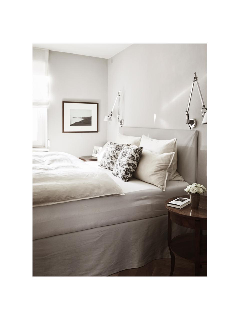 Letto imbottito in tessuto beige/grigio con contenitore Feather, Rivestimento: poliestere (tessuto strut, Tessuto grigio beige, 180 x 200 cm