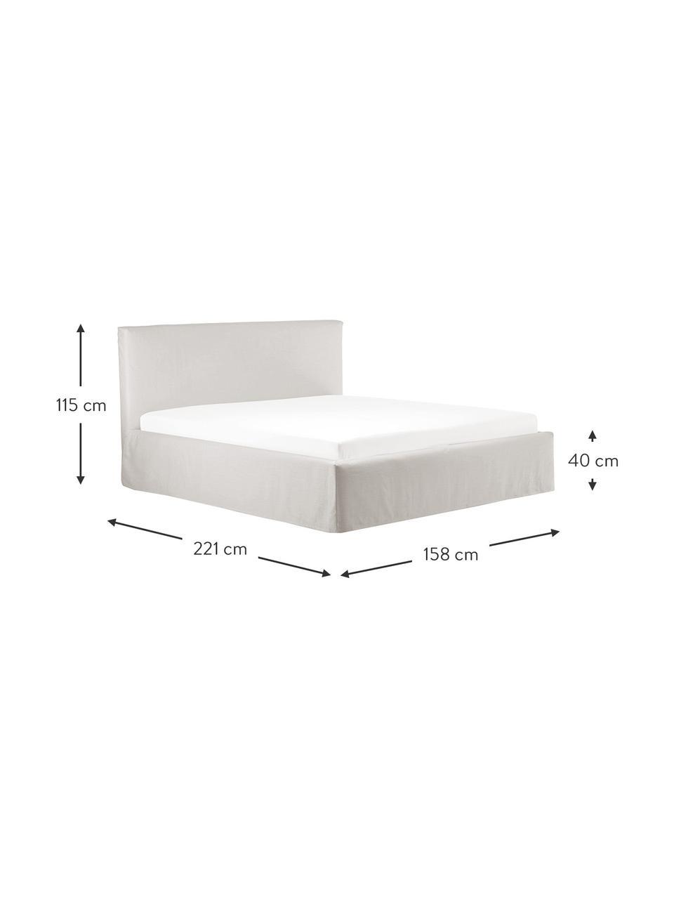 Łóżko tapicerowane z miejscem do przechowywania Feather, Korpus: lite drewno sosnowe i pły, Tapicerka: poliester (tkanina strukt, Beżowoszary, S 160 x D 200 cm