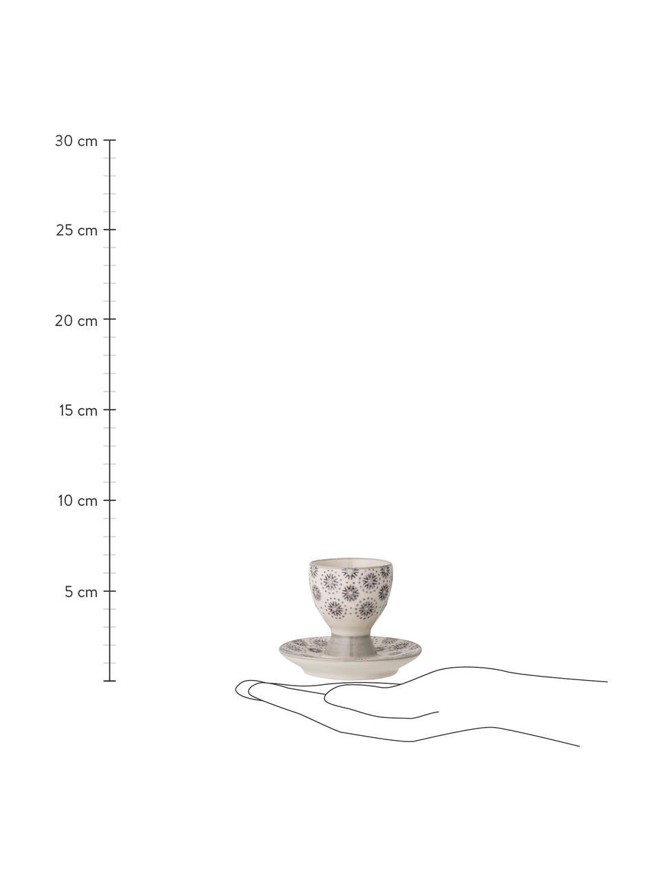 Eierdopjes Elsa, 4 stuks, Keramiek, Grijs, crèmekleurig, Ø 8 x H 7 cm