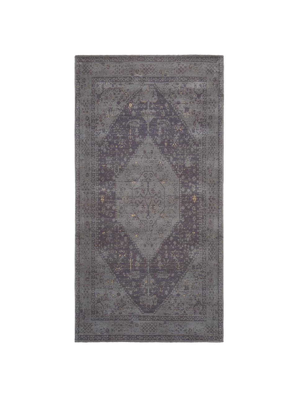 Handgewebter Chenilleteppich Neapel im Vintage Style, Flor: 95% Baumwolle, 5% Polyest, Grau, B 80 x L 150 cm (Größe XS)