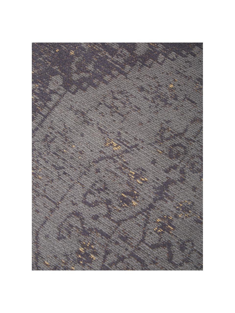 Tappeto vintage in ciniglia tessuto a mano Neapel, Retro: 100% cotone, Grigio, Larg. 80 x Lung. 150 cm (taglia XS)