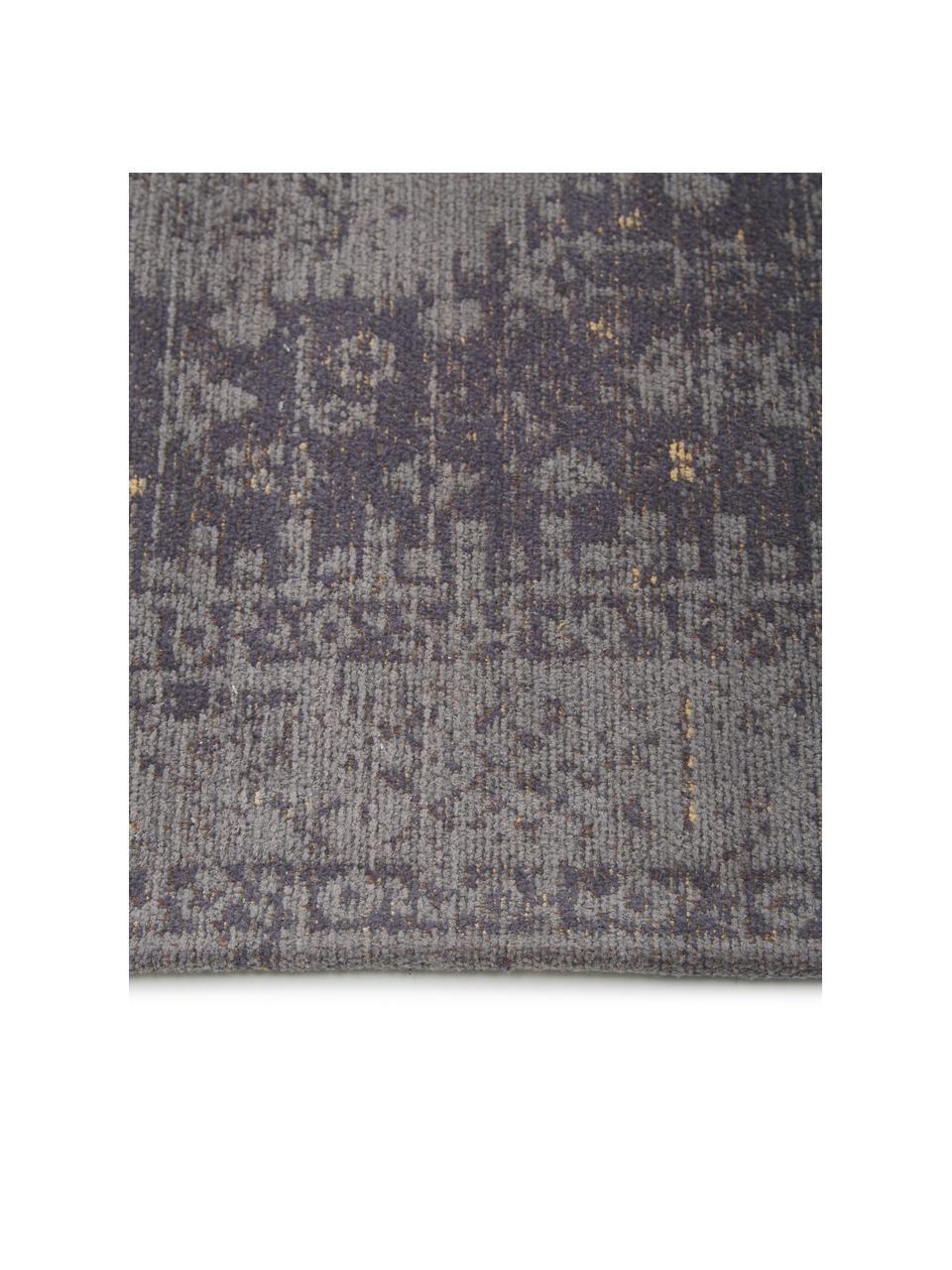 Handgeweven chenille vloerkleed Neapel in vintage stijl, Bovenzijde: 95% katoen, 5% polyester, Onderzijde: 100% katoen, Grijs, B 80 x L 150 cm (maat XS)