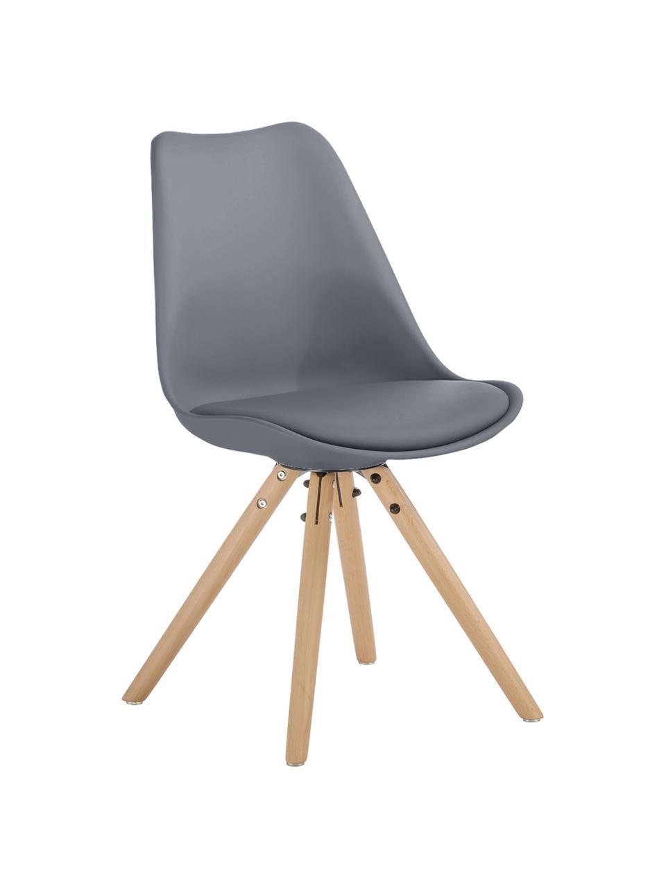 Kunststoffstühle Max in Grau, 2 Stück, Sitzfläche: Kunstleder (Polyurethan) , Sitzschale: Kunststoff, Beine: Buchenholz, Grau, B 46 x T 54 cm