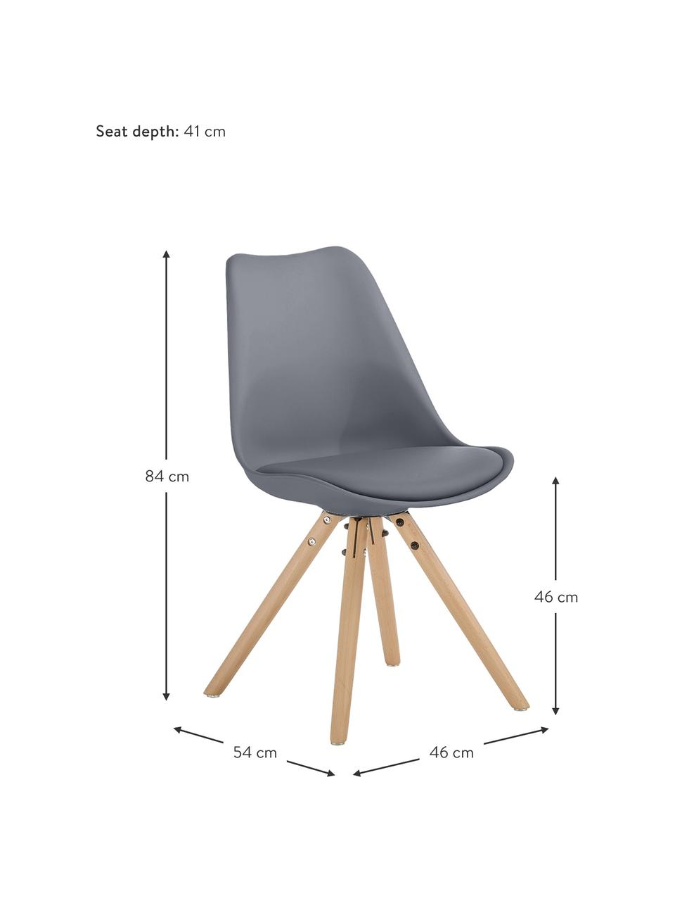 Sedia con seduta in similpelle Max 2 pz, Seduta: similpelle (poliuretano), Seduta: materiale sintetico, Gambe: legno di faggio, Grigio scuro, Larg. 46 x Prof. 54 cm