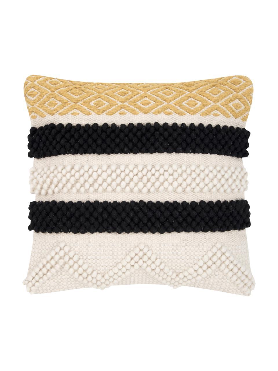Kussenhoes Takala in boho stijl, 80% wol, 20% katoen, Ecru, zwart, geel, 45 x 45 cm