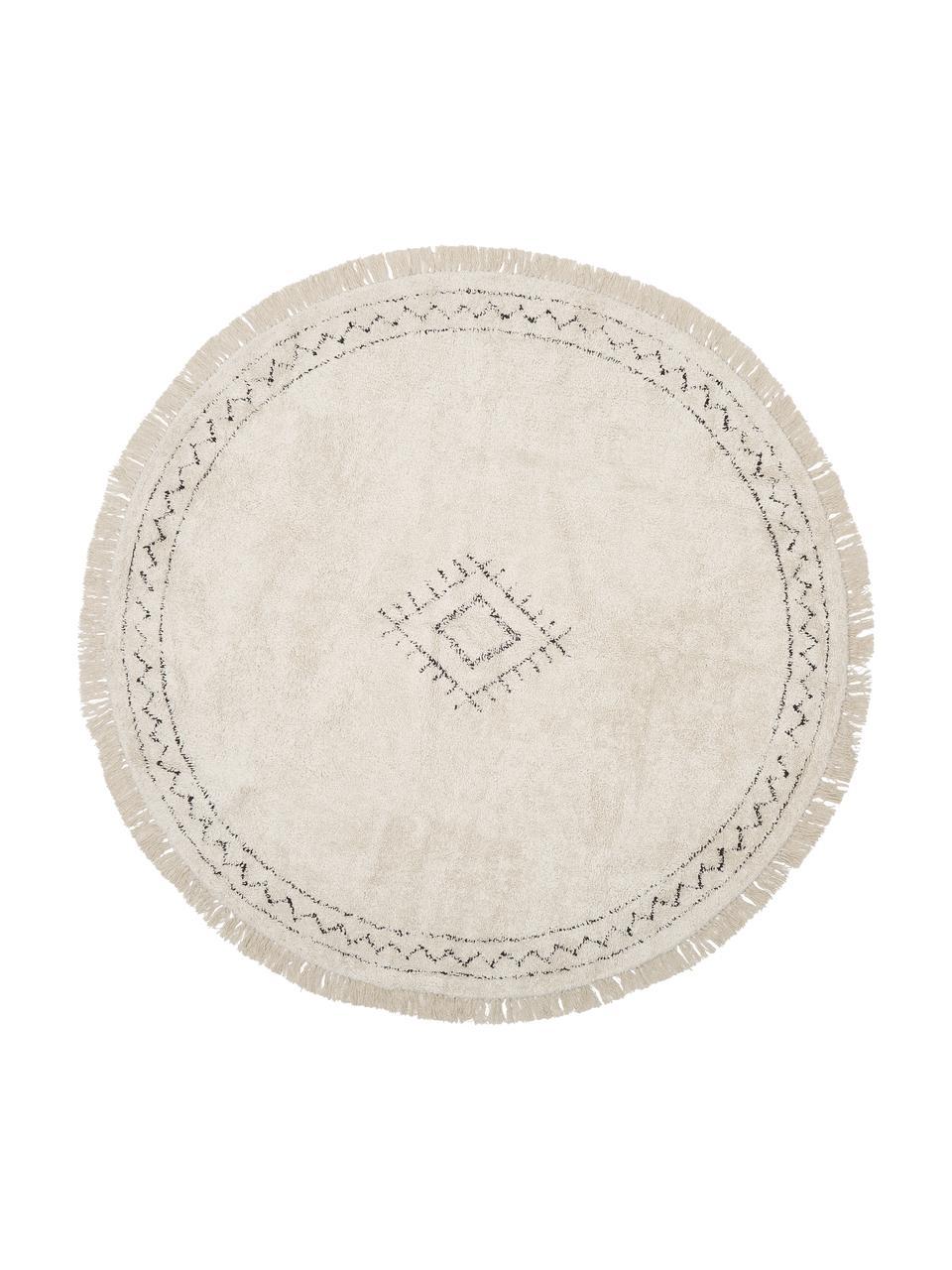 Runder Boho-Baumwollteppich Frame mit Fransen, handgetuftet, 100% Baumwolle, Beige, Schwarz, Ø 150 cm (Größe M)