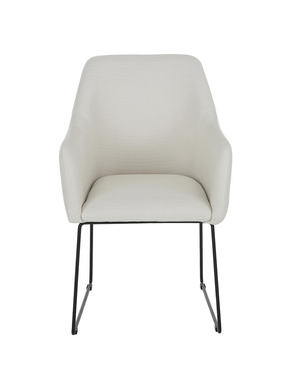 Sedia con braccioli in tessuto bianco crema Isla, Rivestimento: poliestere Con 50.000 cic, Gambe: metallo verniciato a polv, Tessuto bianco crema, nero, Larg. 58 x Prof. 62 cm