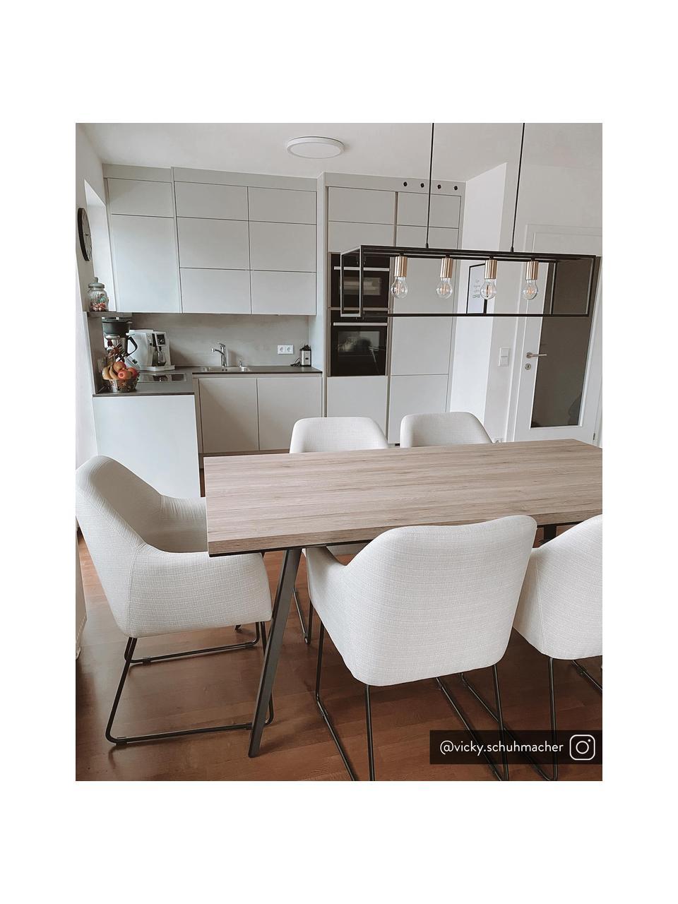 Armstoel Isla in crèmewit, Bekleding: polyester, Poten: gepoedercoat metaal, Geweven stof crèmewit, poten zwart, B 58 x D 62 cm