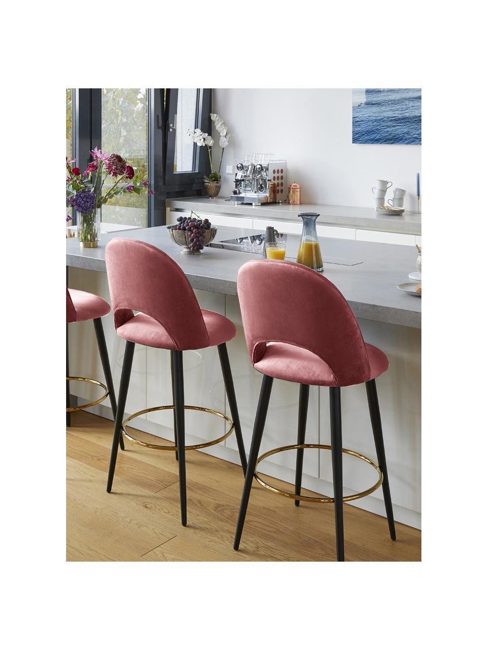 Sedia da bar in velluto rosa cipria Rachel, Rivestimento: velluto (poliestere) 50.0, Gambe: metallo verniciato a polv, Velluto rosa cipria, Larg