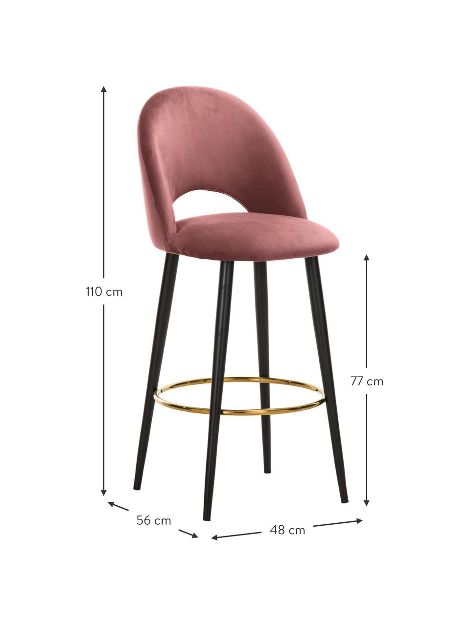 Krzesło barowe z aksamitu Rachel, Tapicerka: aksamit (poliester) 5000, Nogi: metal malowany proszkowo, Aksamitny brudny różowy, S 48 x W 110 cm