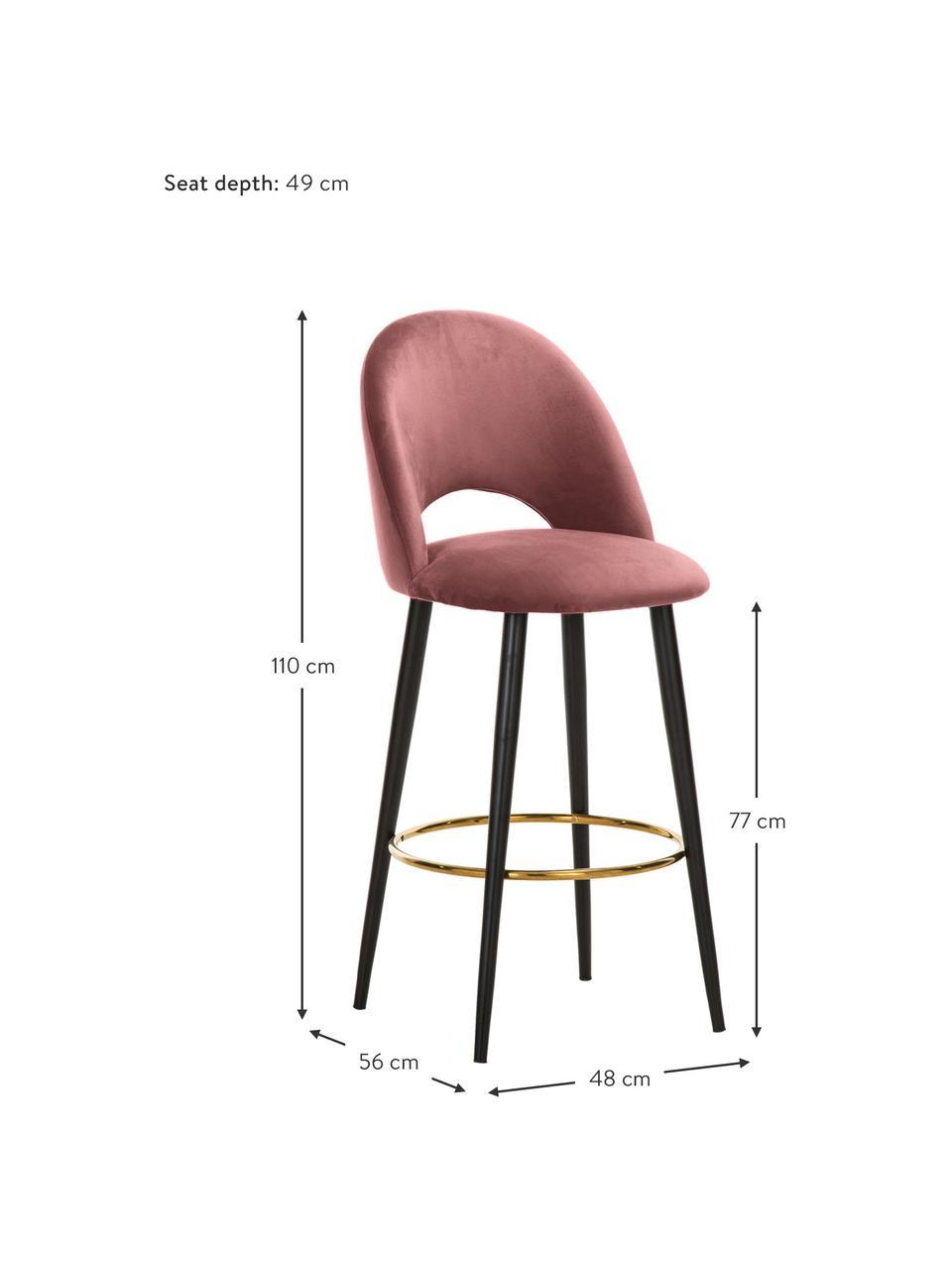 Krzesło barowe z aksamitu Rachel, Tapicerka: aksamit (wysokiej jakości, Nogi: metal malowany proszkowo, Aksamitny brudny różowy, S 48 x W 110 cm