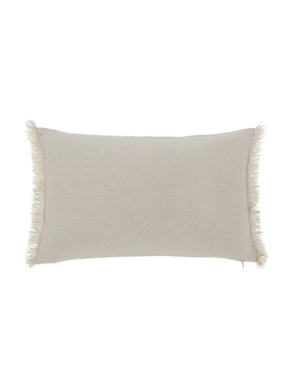Leinen-Kissenhülle Luana in Beige mit Fransen, 100% Leinen  Leinen hat von Natur aus eher eine grobe Haptik und einen natürlichen Knitterlook. Die hohe Reißfestigkeit macht Leinen scheuerfest und strapazierfähig., Beige, 30 x 50 cm
