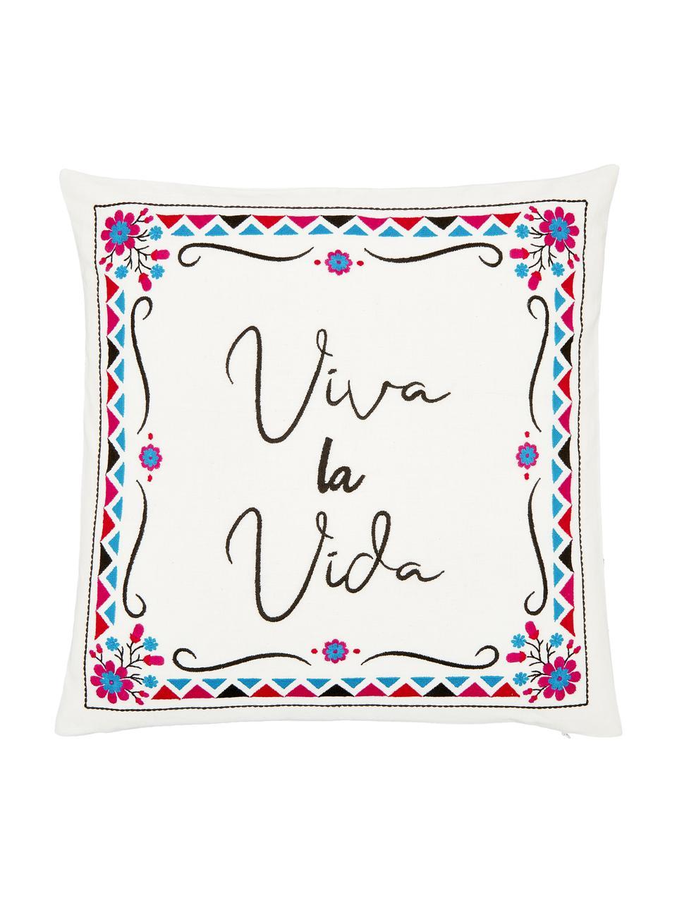 Bunt bestickte Kissenhülle Viva la Vida, 100% Baumwolle, Cremeweiß, Mehrfarbig, 45 x 45 cm