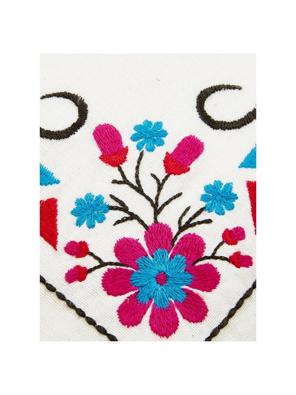 Kleurrijk geborduurde kussenhoes Viva la Vida, 100% katoen, Crèmewit, multicolour, 45 x 45 cm