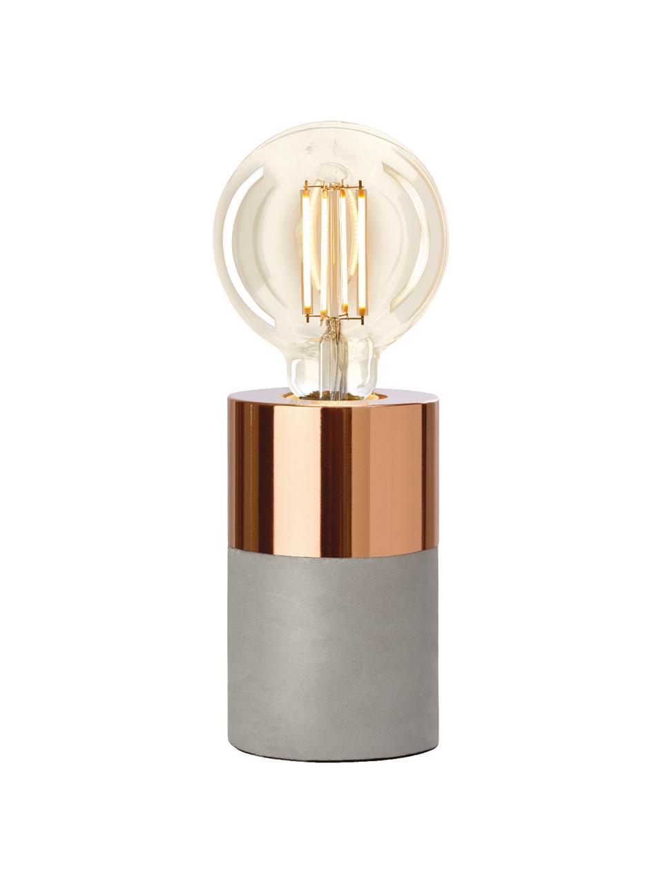 Kleine betonnen tafellamp Athene, Grijs, koperkleurig, Ø 8 x H 14 cm