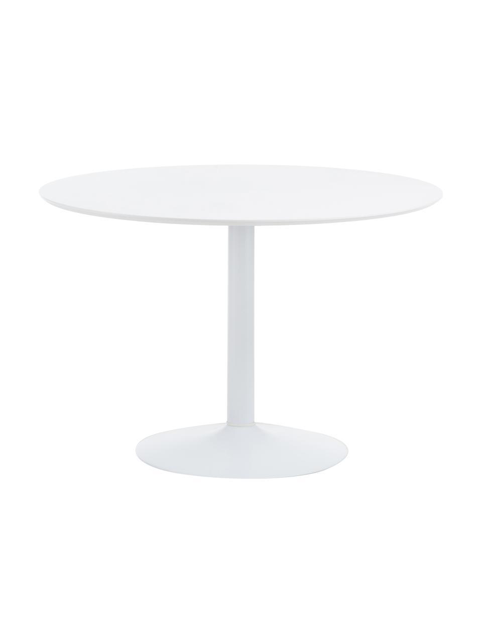 Tavolo rotondo bianco Mallorca, Ø 110 cm, Piano d'appoggio: pannello di fibra a media, Bianco, Ø 110 x Alt. 74 cm