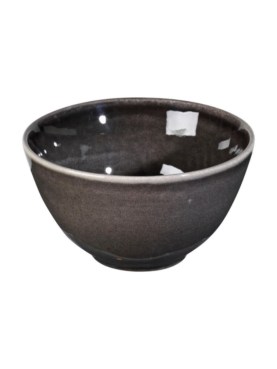 Handgemachte Schälchen Nordic Coal Ø 15 cm aus Steingut, 4 Stück, Steingut, Bräunlich, Ø 15 x H 8 cm
