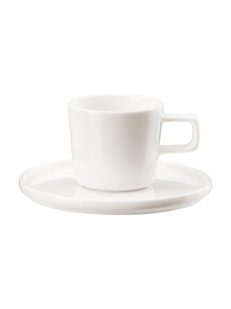 Porcelanowa filiżanka do espresso ze spodkiem Oco, 6 szt., Fine Bone China (porcelana kostna) Jest to miękka porcelana wyróżniająca się wyjątkowym, półprzezroczystym połyskiem, Kość słoniowa, Ø 6 cm