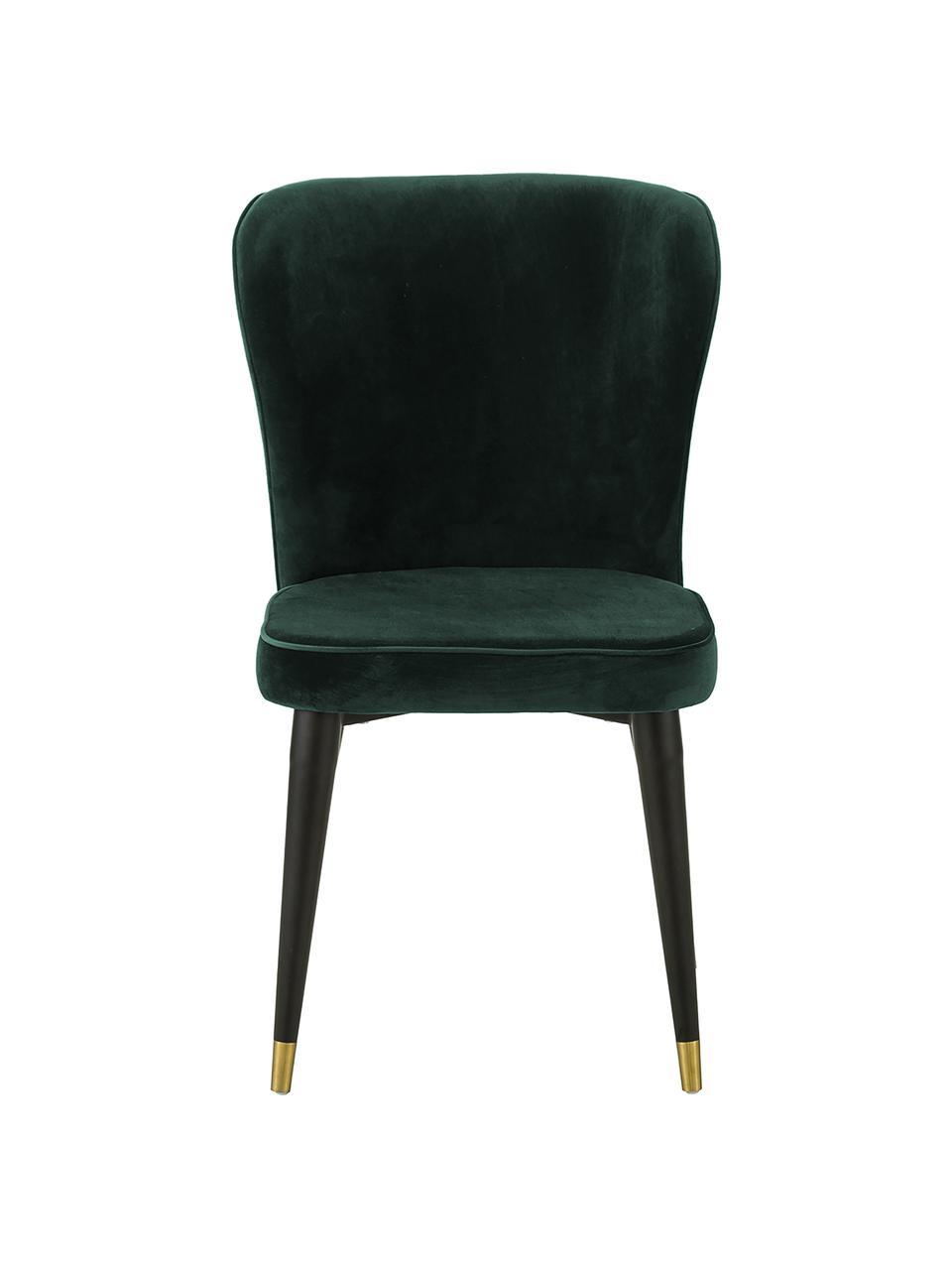 Krzesło tapicerowane z aksamitu Cleo, Tapicerka: aksamit (poliester) Dzięk, Nogi: metal lakierowany, Aksamitny ciemny zielony, S 51 x G 62 cm
