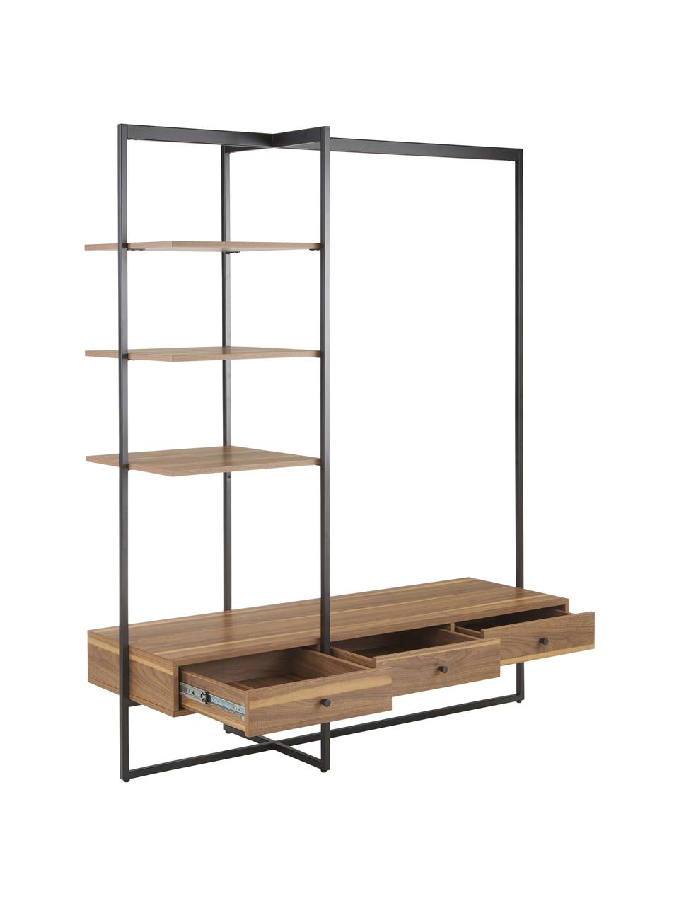 Open kledingkast Pacey van hout en metaal, Frame: gepoedercoat metaal, Bruin, 150 x 180 cm