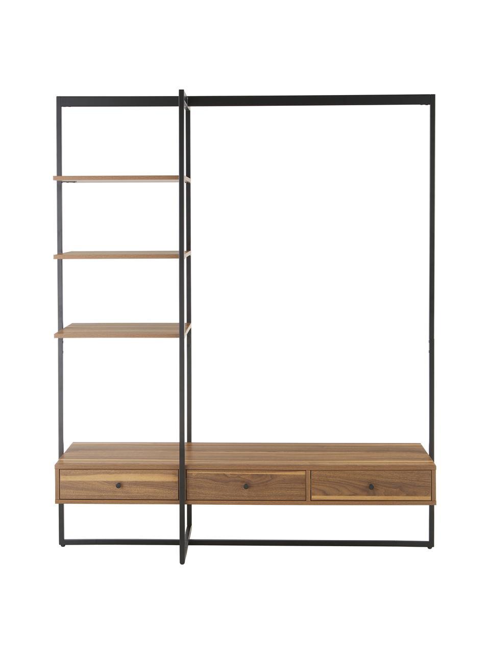 Otwarta szafa z drewna i metalu  Pacey, Stelaż: metal malowany proszkowo, Czarny, S 150 x W 180 cm
