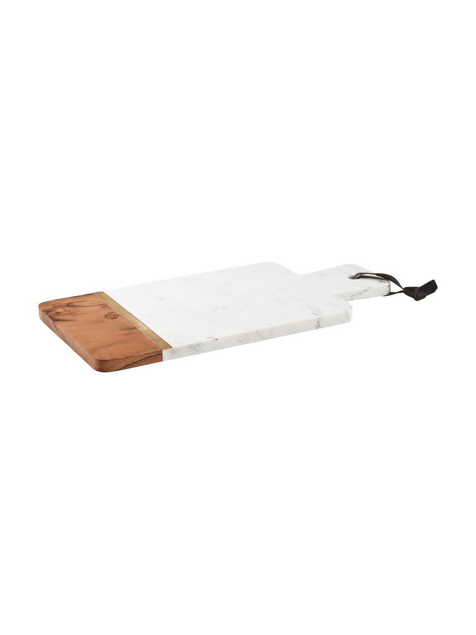 Tagliere in marmo Luxory Kitchen, Marmo, legno di acacia, ottone, Bianco, legno di acacia, ottone, Larg. 37 x Prof. 17 cm