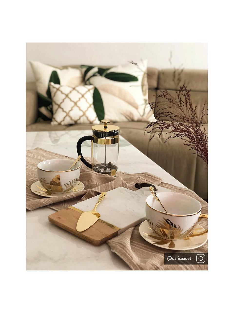 Planche à découper en marbre Luxory Kitchen, Blanc, bois d'acacia, laiton