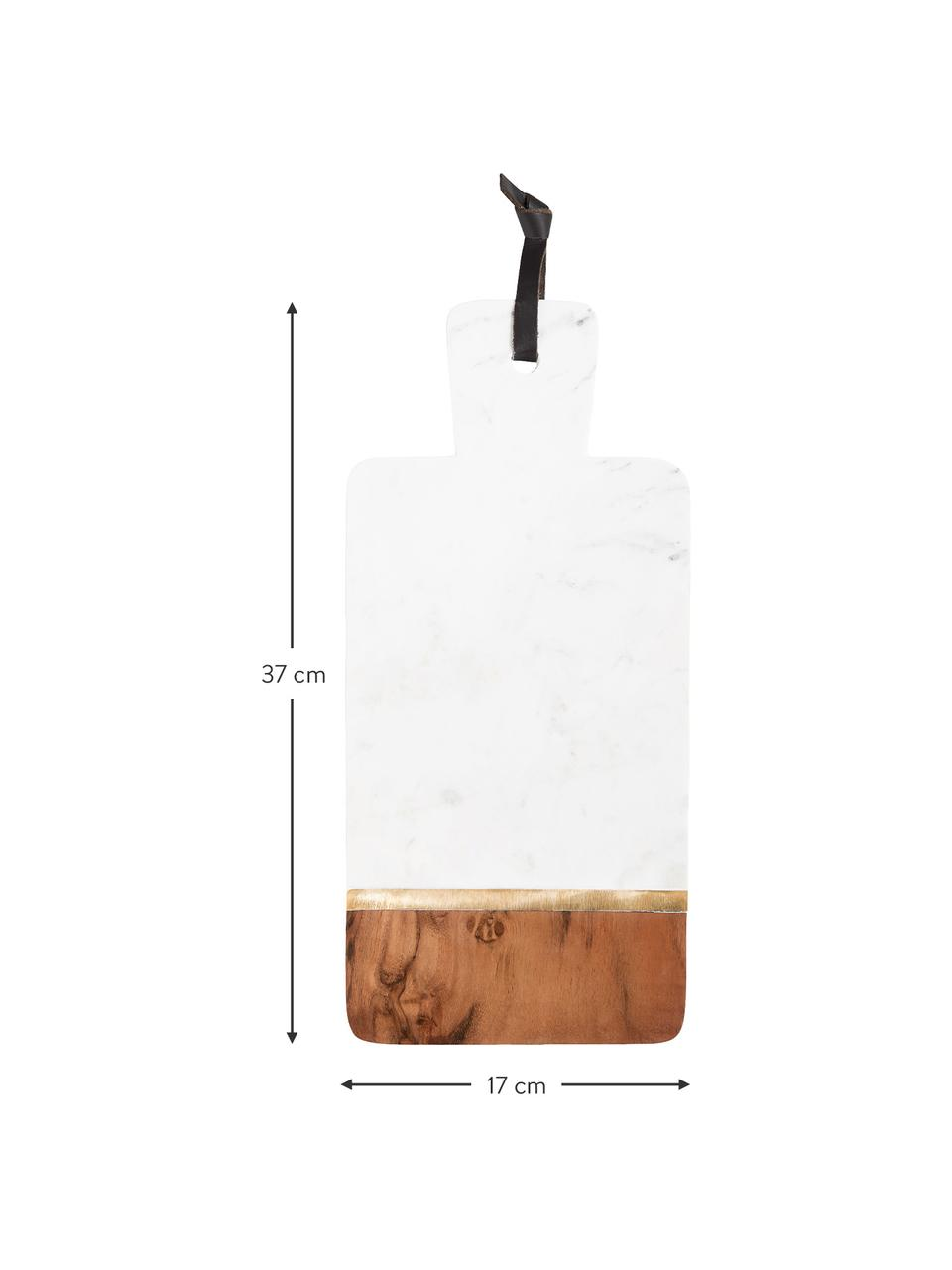 Marmor-Schneidebrett Luxory Kitchen, L 37 x B 17 cm, Marmor, Akazienholz, Messing, Weiß, Akazienholz, Messing, 17 x 37 cm