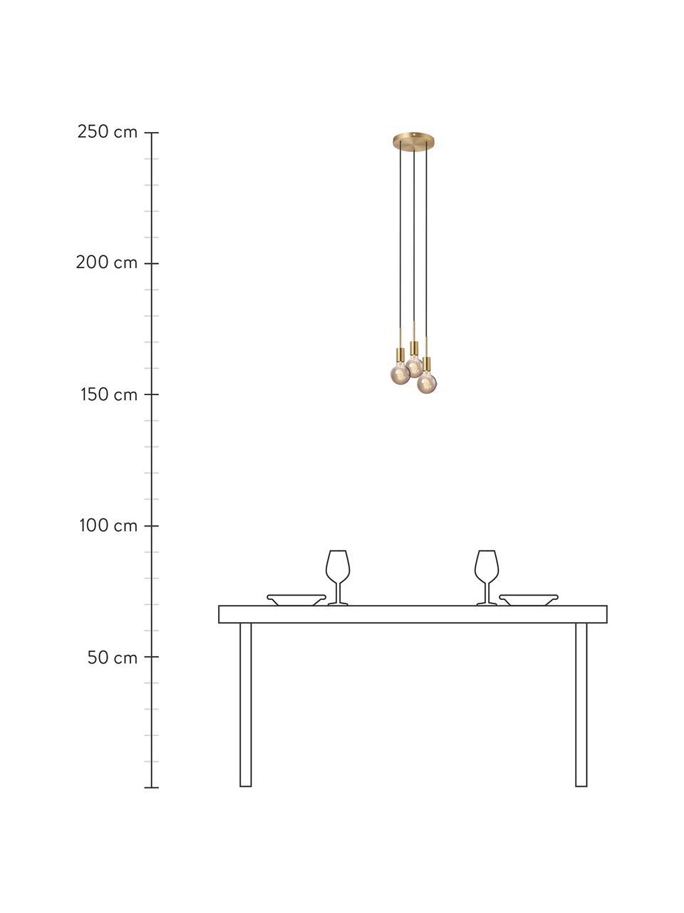 Kleine Cluster-Pendelleuchte Paco, Baldachin: Metall, Messing, Ø 18 x H 17 cm
