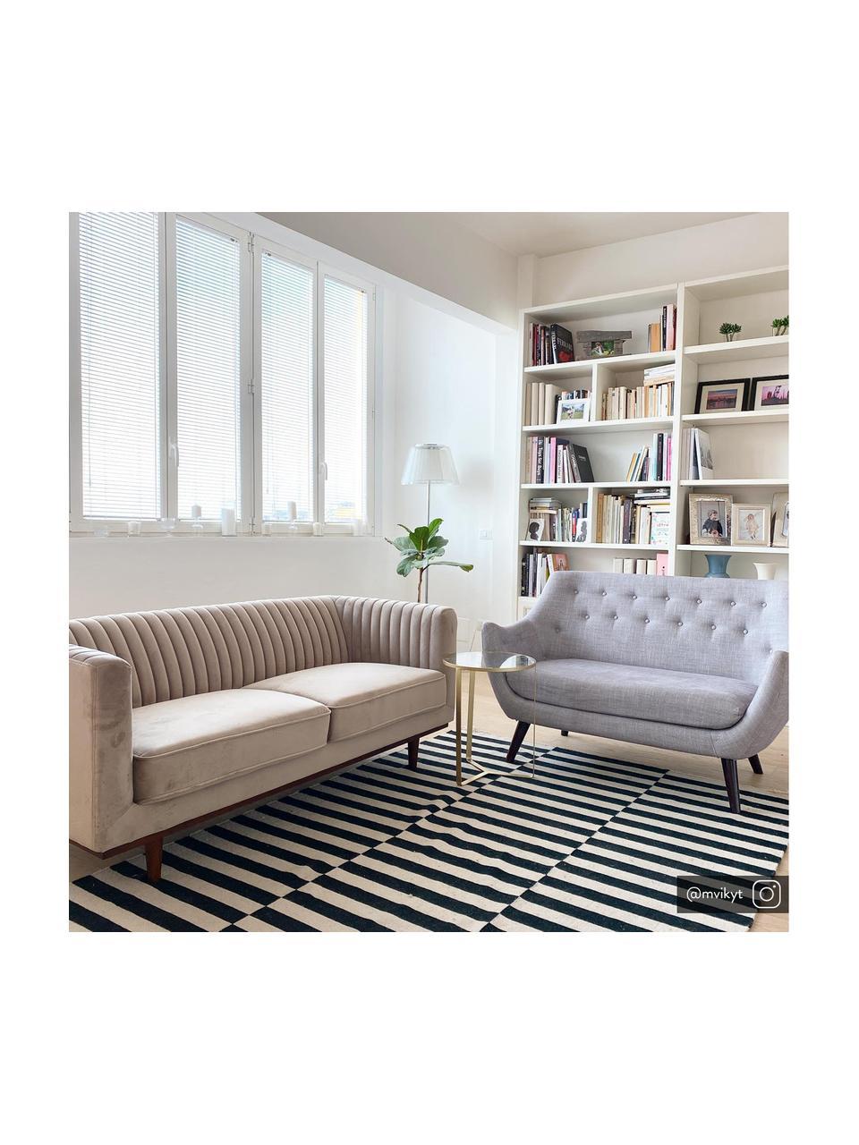 Sofa z aksamitu z drewnianymi nogami Dante (3-osobowa), Tapicerka: aksamit poliestrowy, Tapicerka: pianka poliuretanowa, Aksamitny beżowy, S 210 x G 87 cm