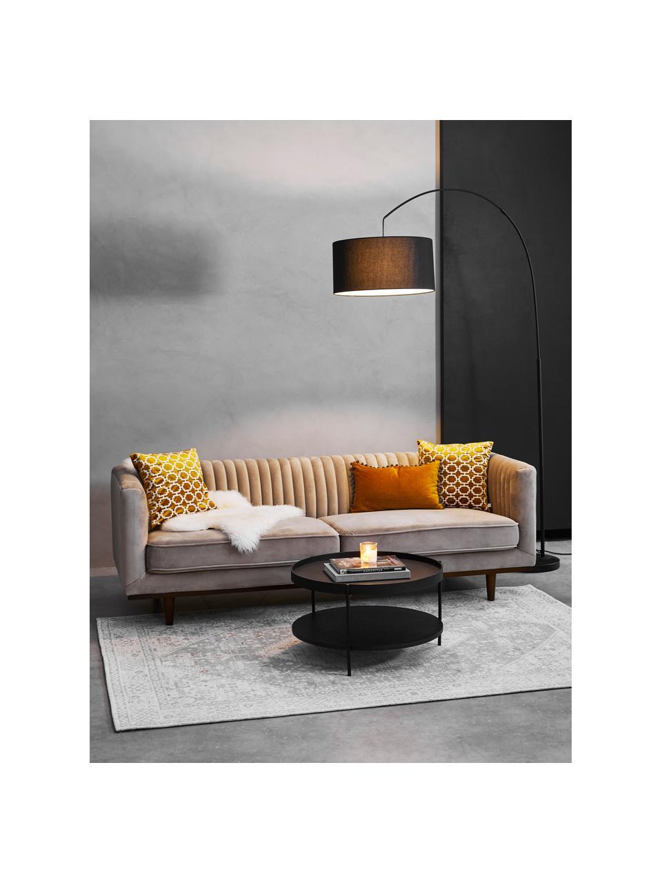 Samt-Sofa Dante (3-Sitzer) in Beige mit Holz-Füßen, Bezug: Polyestersamt, Gestell: Kautschukbaumholz, klarla, Samt Beige, B 210 x T 87 cm
