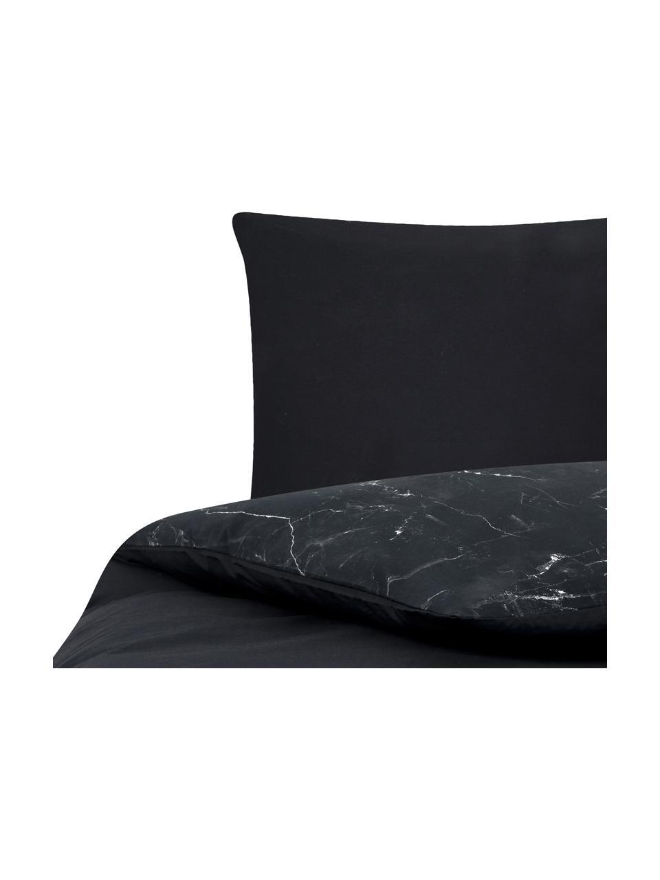 Parure copripiumino reversibile in cotone Malin, Nero, bianco, 155 x 200 cm + 1 federa 50 x 80 cm