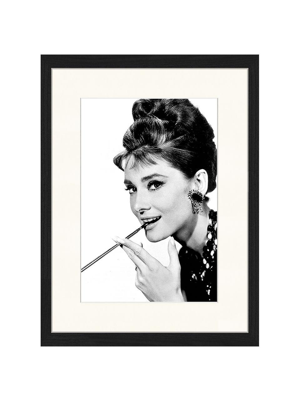 Oprawiony druk cyfrowy Audrey Hepburn, Czarny, biały, S 33 x W 43 cm