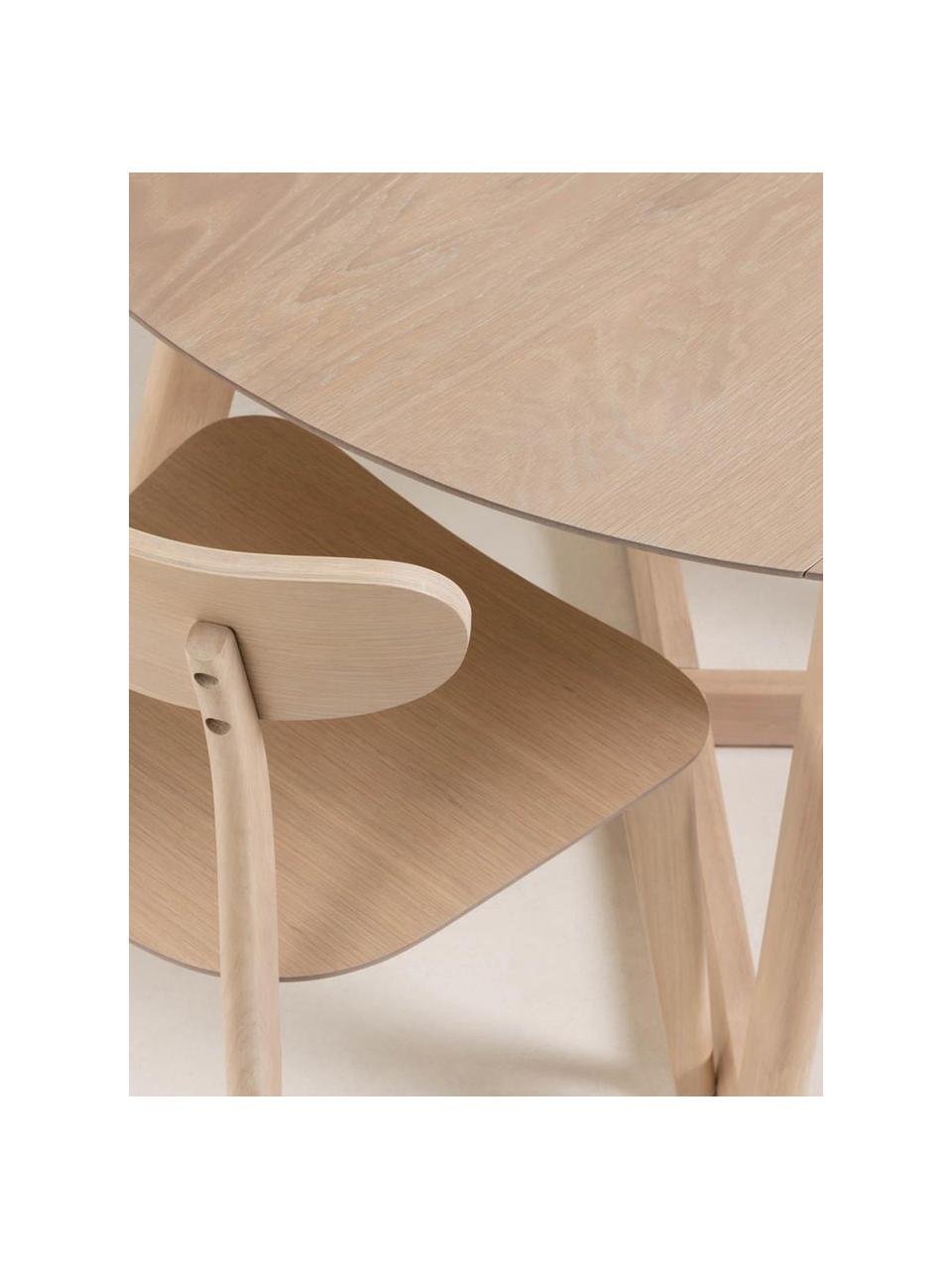 Table ronde bois de chêne Maryse, Blanc