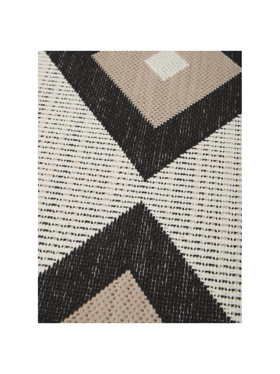 Ethno In- & Outdoorteppich Nikita, 86% Polypropylen, 14% Polyester, Beige, Schwarz, B 80 x L 150 cm (Größe XS)