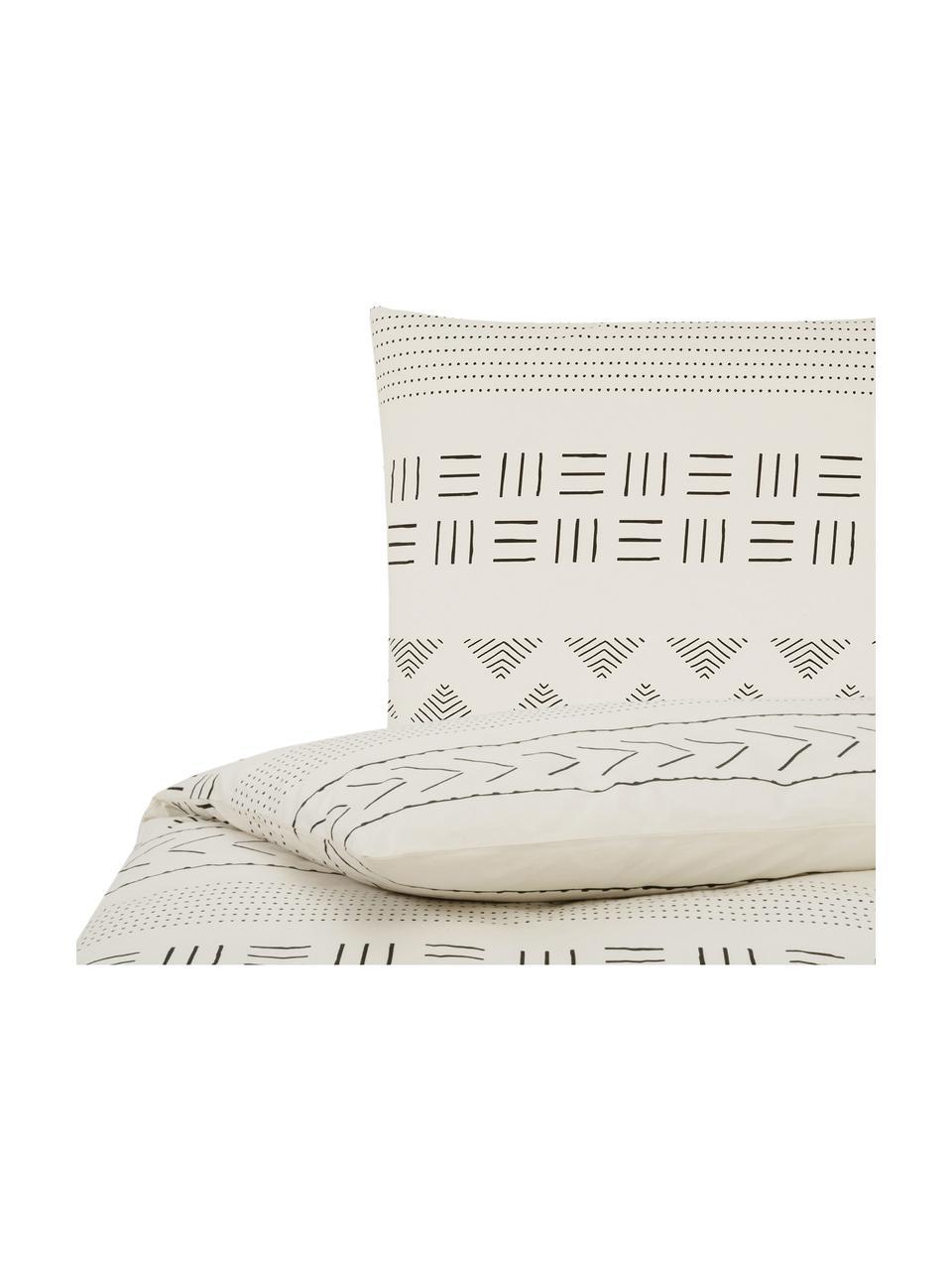 Parure copripiumino boho in cotone lavato Kohana, Tessuto: percalle, Ecru, nero, 200 x 200 cm + 2 federe 50 x 80 cm