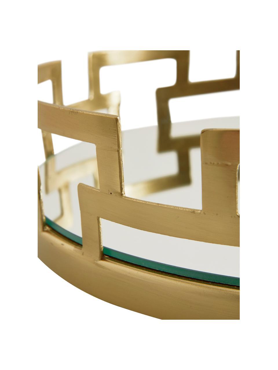 Deko-Tablett Mallis, Rahmen: Metall, beschichtet, Ablagefläche: Spiegelglas, Messingfarben, Ø 31 x H 8 cm