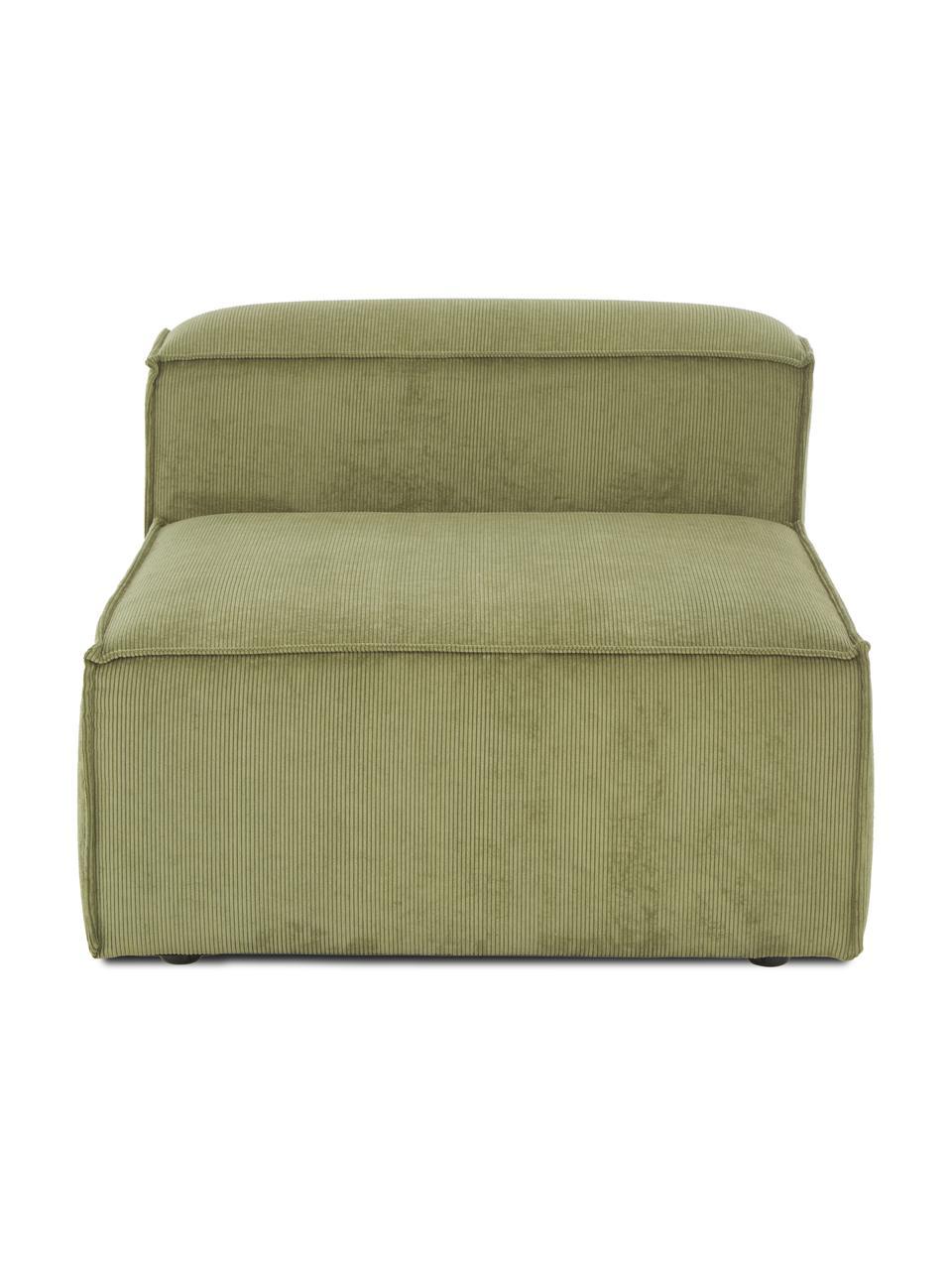 Middelste module Lennon in groen van corduroy, Bekleding: corduroy (92% polyester, , Frame: massief grenenhout, multi, Poten: kunststof De poten bevind, Corduroy groen, 89 x 119 cm