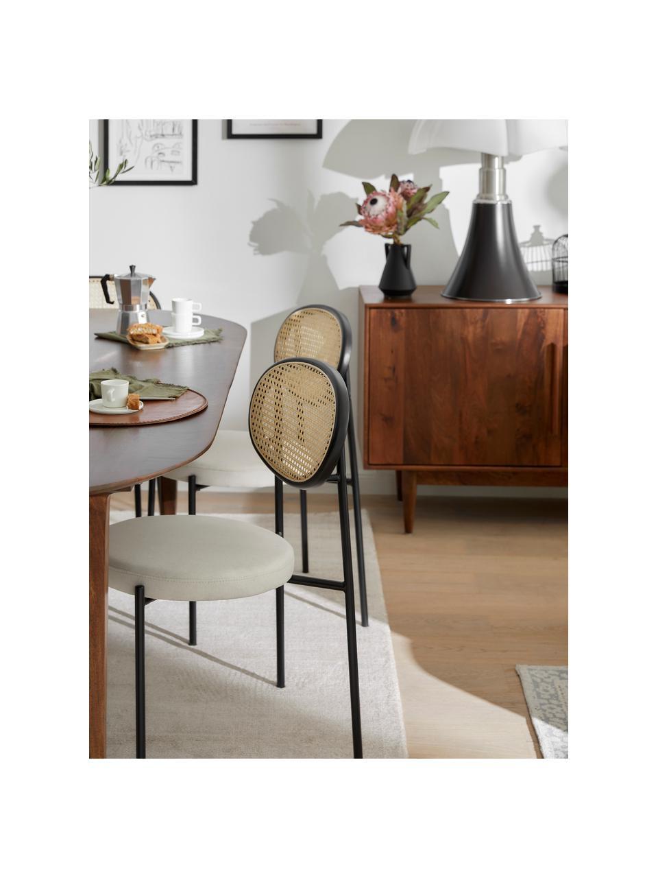 Krzesło tapicerowane z plecionką wiedeńską Niko, 2 szt., Stelaż: metal, Biały, S 54 x W 84 cm