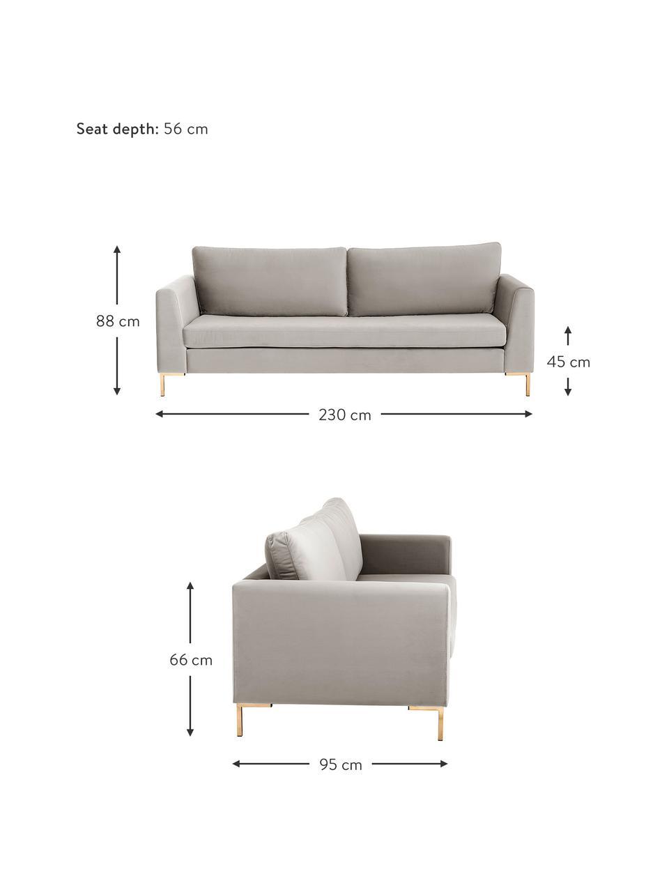Samt-Sofa Luna (3-Sitzer) in Beige mit Metall-Füßen, Bezug: Samt (Polyester) Der hoch, Gestell: Massives Buchenholz, Füße: Metall, galvanisiert, Samt Beige, Gold, B 230 x T 95 cm